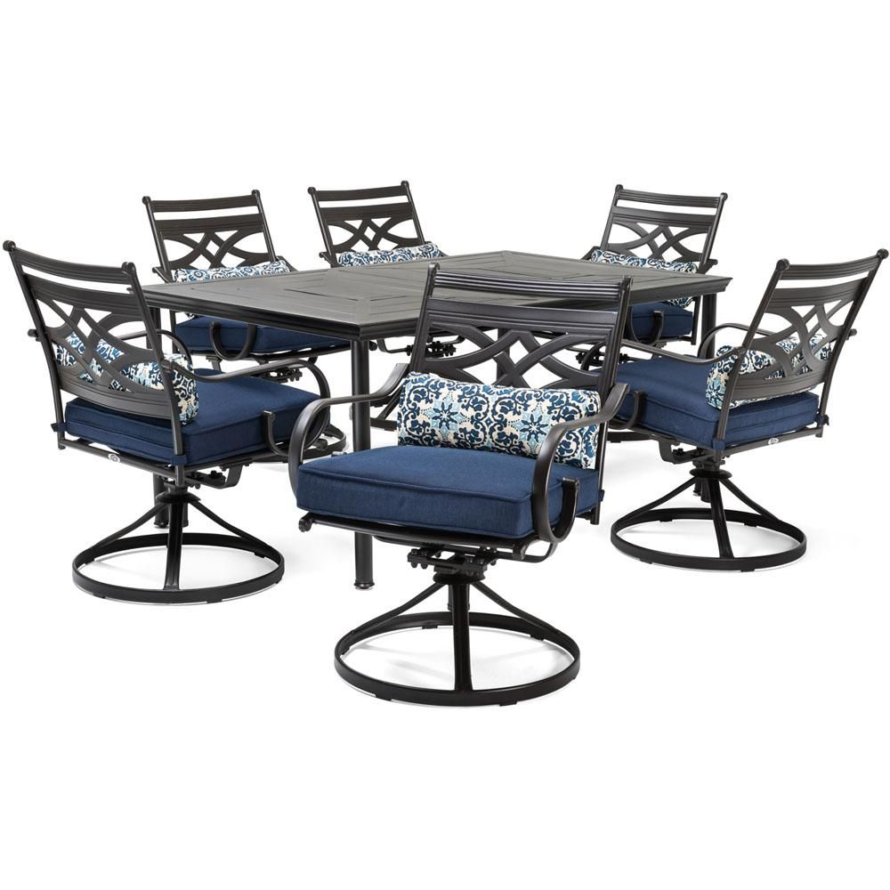 Hanover Montclair 7 Piece Steel Outdoor Dining Set With Navy Blue