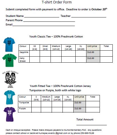 Easy TShirt Order Form   TShirt Order Forms