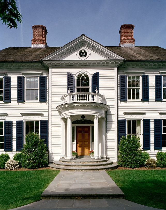 House Is Benjamin Moore Glacier White And The Shutters Are Benjamin Moore Hale Navy Hc 154