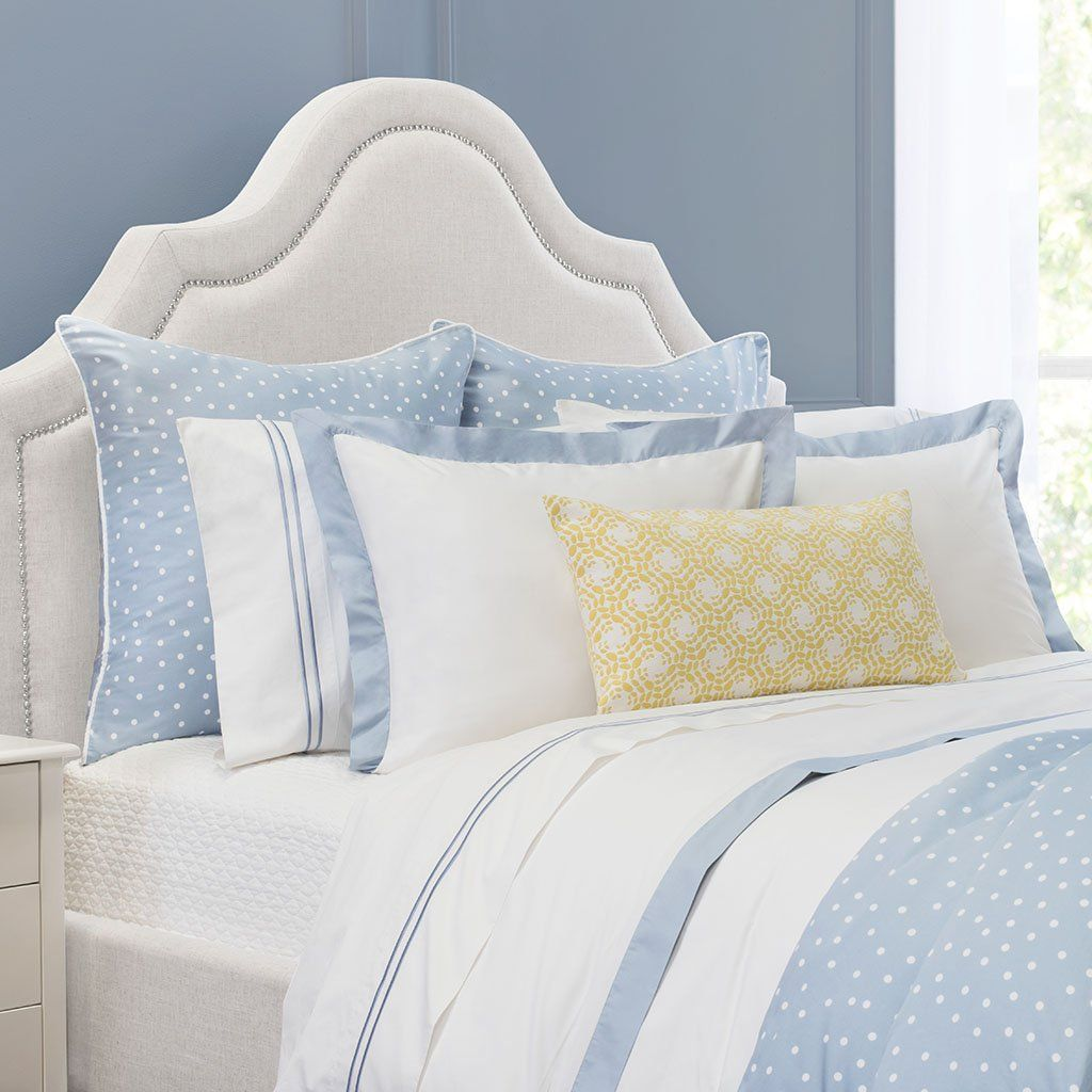 Bedroom Inspiration And Bedding Decor The Linden French Blue Border Duvet Cover Crane And Canopy Blue And White Bedding Luxury Duvet Sets Yellow Bedroom Blue and white duvet covers