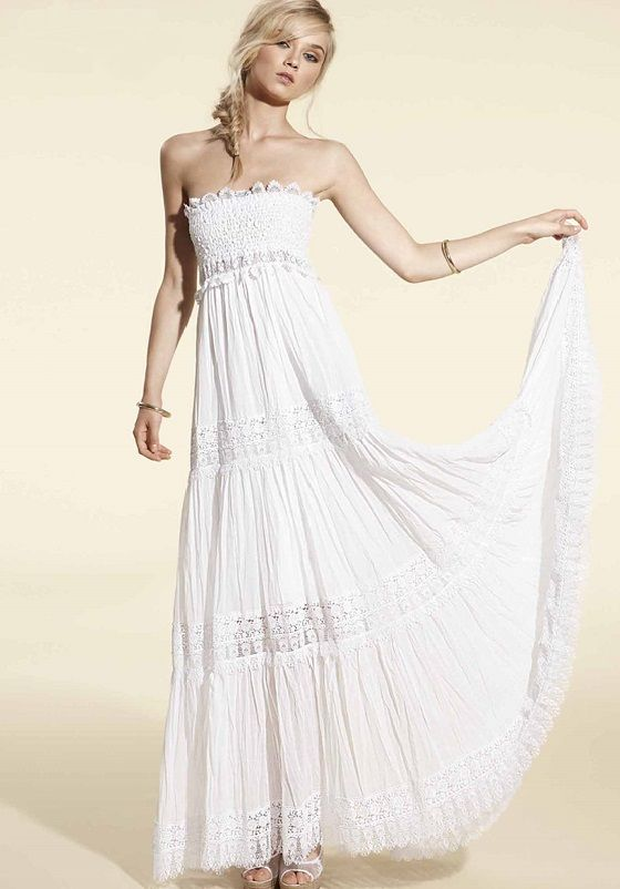 Charo Ruiz - Strapless White Lace Maxi Dress at Beach Cafe UK www ...