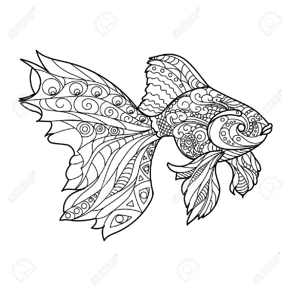 Fish Coloring Pages Mandala Portraits