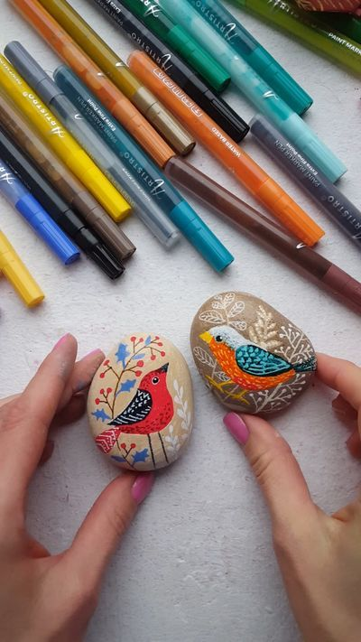 Painted rocks with birds