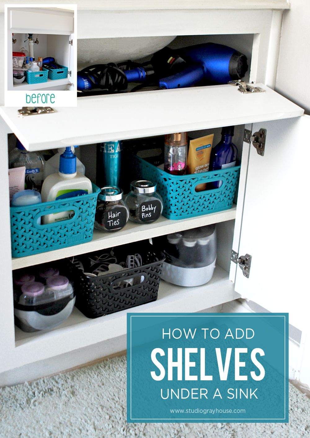 Adding Shelves in Bathroom Cabinets | Bathroom cabinets, Sinks and ...