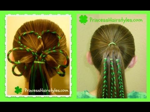 St Patrick S Day Hairstyles 3 Leaf Clover Shamrock Hairstyle W Ribbon Princess Hairstyles Hair Styles Shamrock Hairstyle