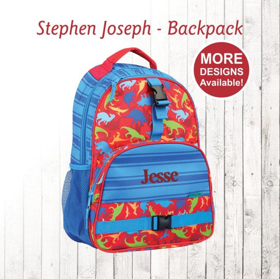 226d91158b0c Personalized Dinosaur Backpack, Stephen Joseph Backpack, Embroidered ...