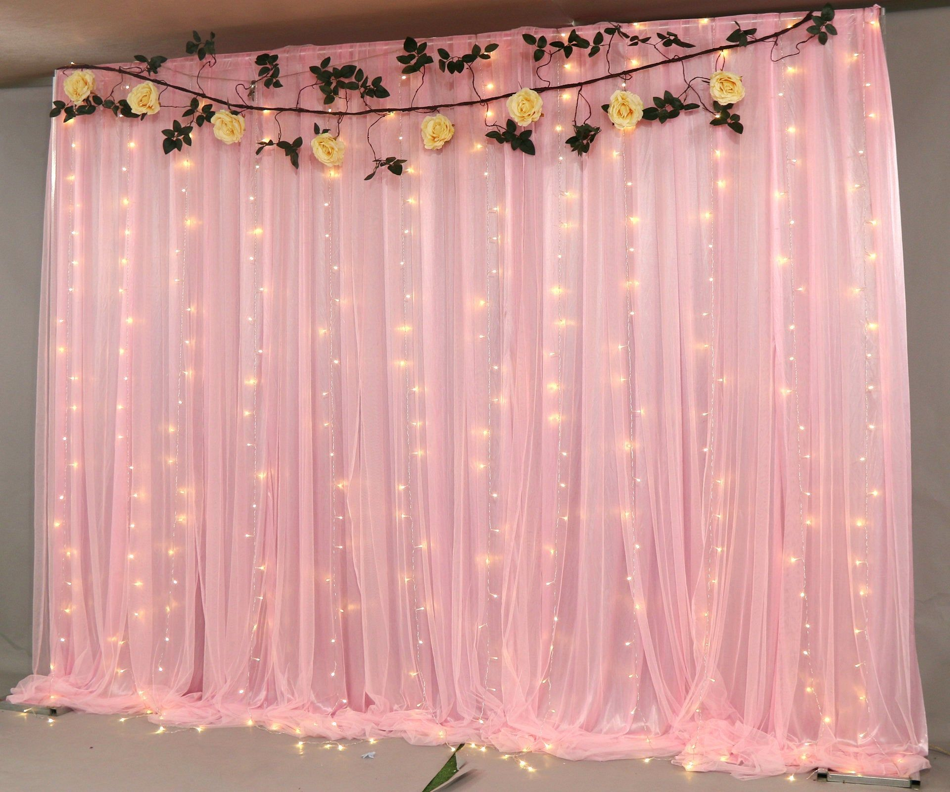Grey Tulle Wedding Backdrop For Reception Romantic Full Pink