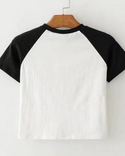 Letter T Shirts With Sayings Color Block Raglan Sleeve Crop Top