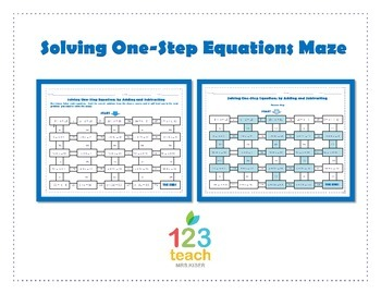 Maze Solving OneStep Equations By Adding Or Subtracting