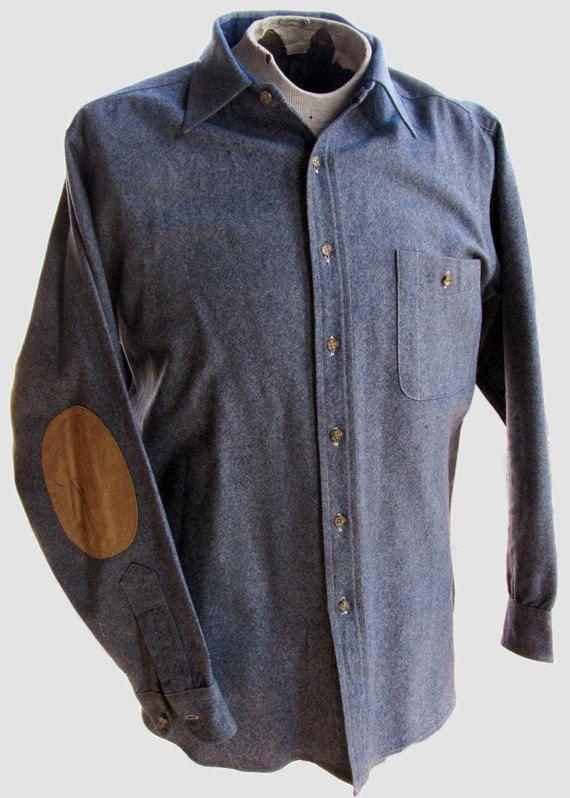01440d37751 Pendleton Mens Shirt - Light Blue with Tan Elbow Patches. $21.50, via Etsy.