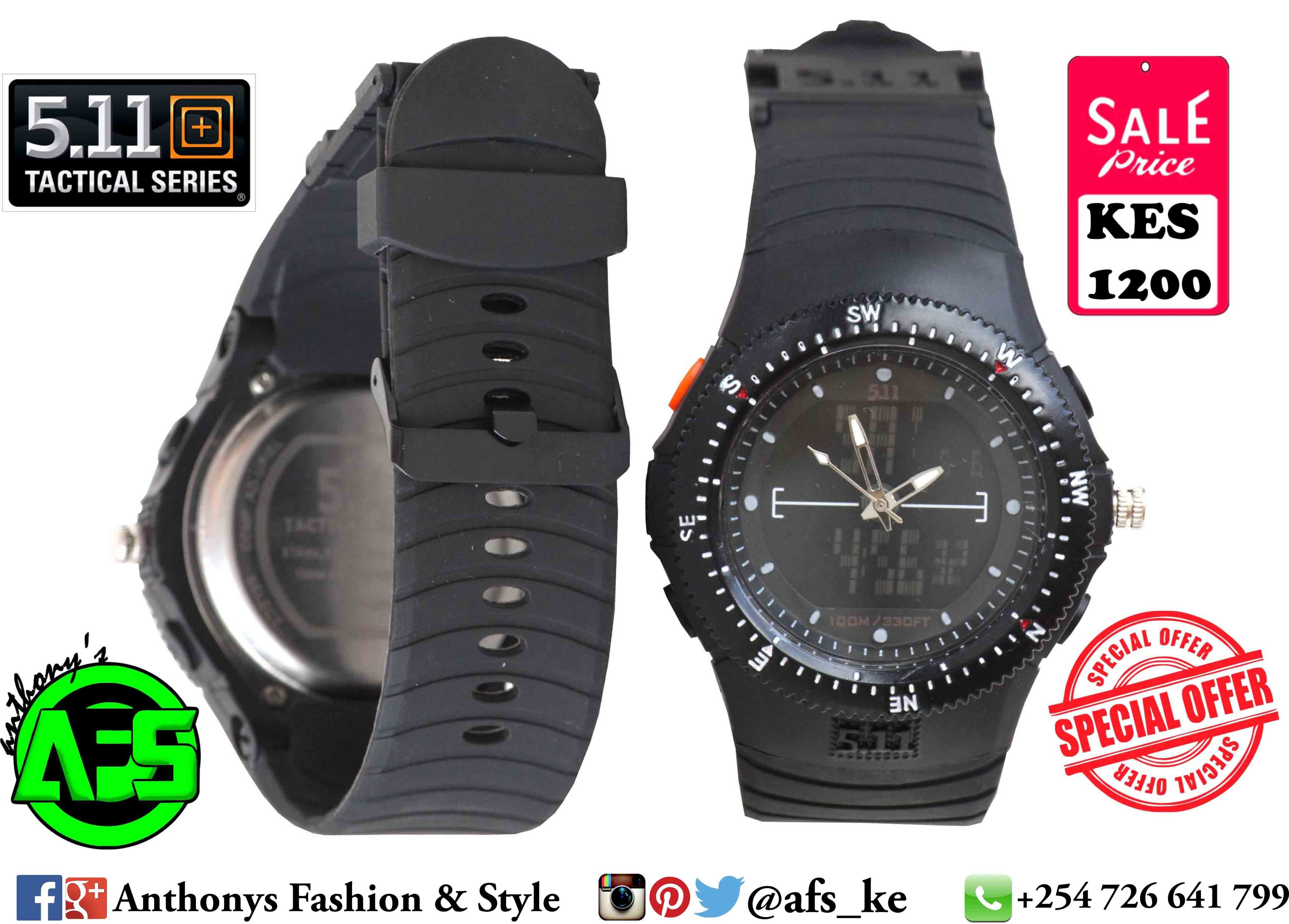 You Can Never Get Enough Of Good Watches Well Priced.  _ 5.11+ Tactical Series Double Time USA Army Watch - Combat Black.  (Available in different designs and colours)  Good quality digital watch,USA Army watch,Navigation Compass,Water Resistant,Digital Time and Analog Time,Date,Day,Alarm. _ Price Kes : 1200 Location: Moi ave.