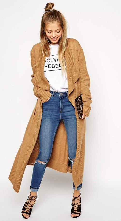 Sweater duster with lace up heels for fall | Wear. | Pinterest ...
