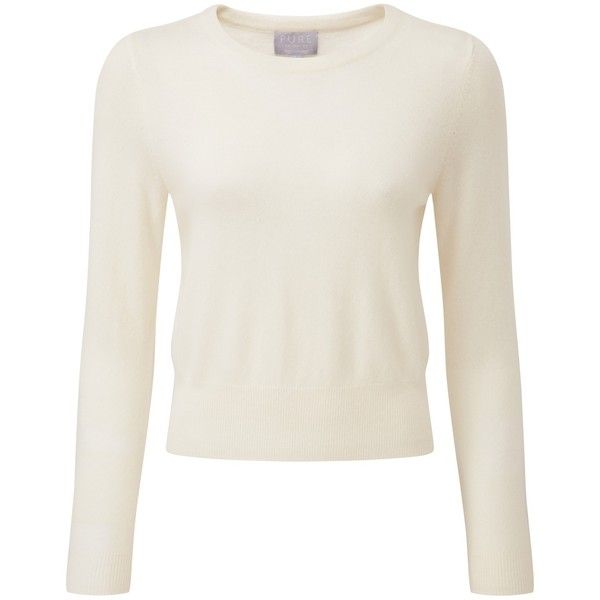 Pure Collection Peyton Crop Cashmere Jumper, Soft White (525 RON ...