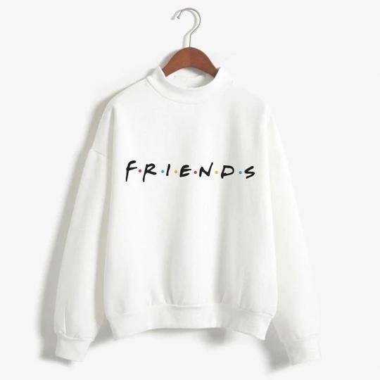 Black Friends TV Women Turtleneck Hoodies Sweatshirt Winter Kawaii Clothes 2018 Harajuku Plus Size Tee Top Femme Clothing Sweat