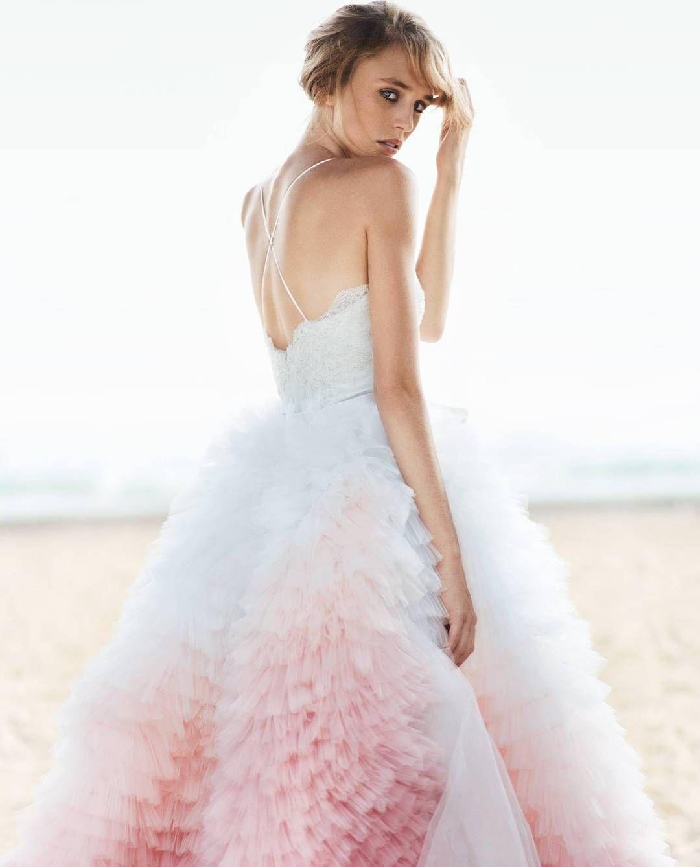 #luxury pink and white #weddinggown #weddingdress #ruffled ...