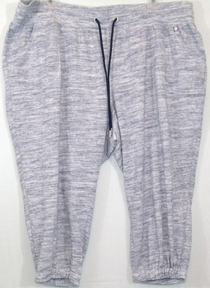 Light Gray Pull String Plus Size Cropped Pants, Size 26/28 by LIVI Active #LIVIActive #CaprisCropped