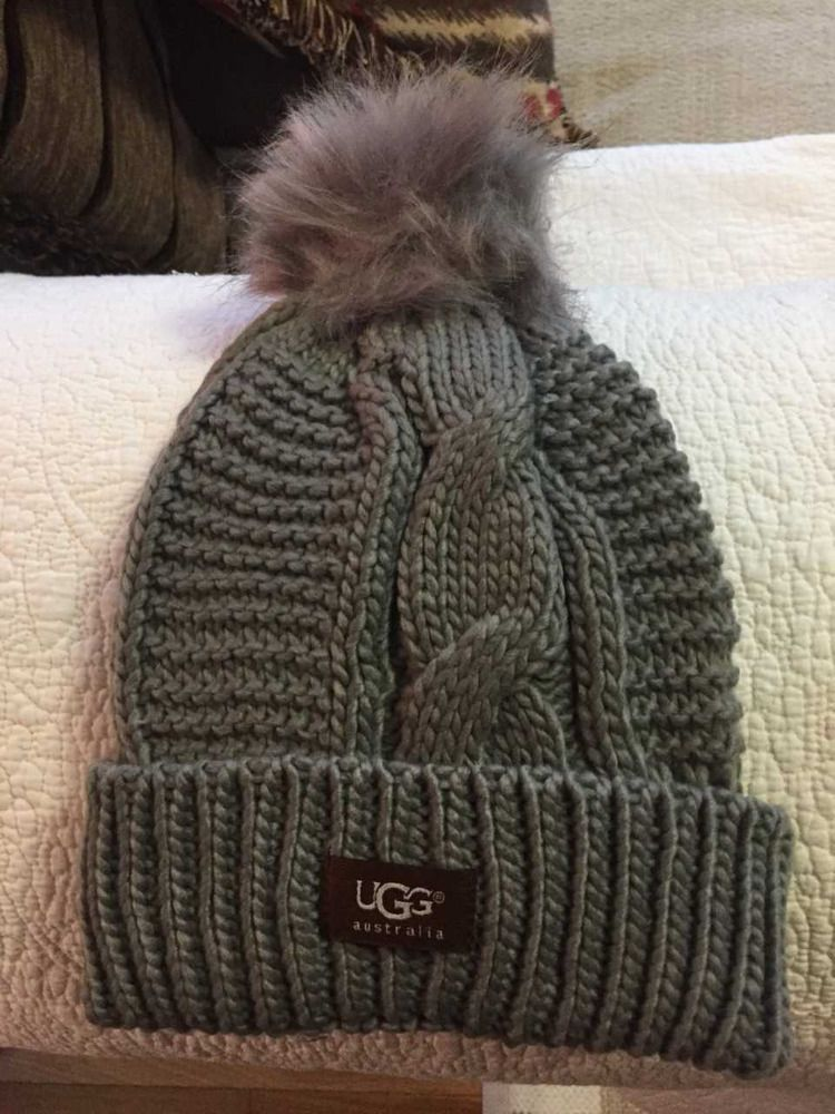 669c9940ae8f0 UGG Womens Winter Gray Solid Ribbed Fleece Lined Beanie Hat With Pom Pom   fashion  clothing  shoes  accessories  womensaccessories  hats (ebay link)
