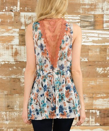 This Ivory & Blue Floral Lace-Back Necklace V-Neck Tank is perfect! #zulilyfinds