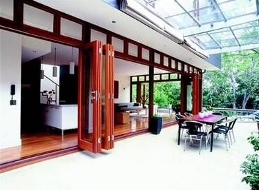Folding Sliding French Doors - Al Fresco  This company has this and sliding doors that would work in Media room