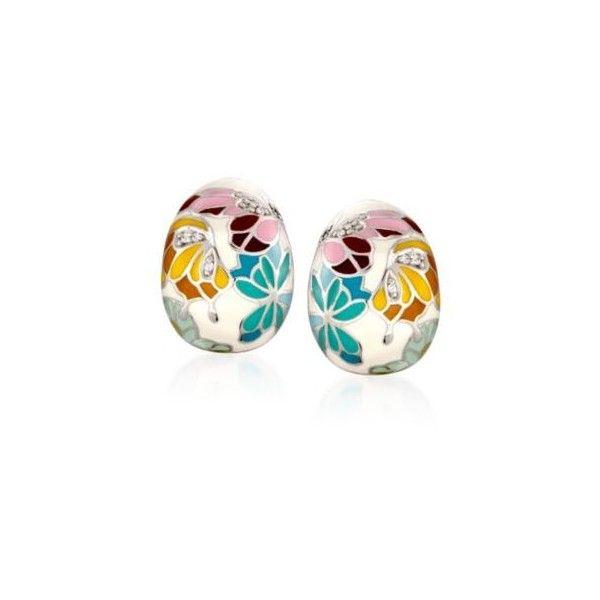 "Belle Etoile  ""Butterfly Kisses"" .15ct t.w. CZ, Ivory Enamel Hoop... ($250) ❤ liked on Polyvore featuring jewelry, earrings, silver, multicolor earrings, multi color hoop earrings, ivory earrings, multi color earrings and tri color hoop earrings"