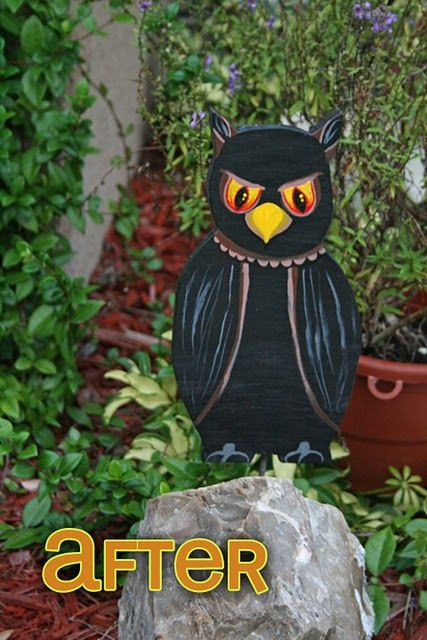 Wood halloween decor stakes hand painted Wood carving Pinterest