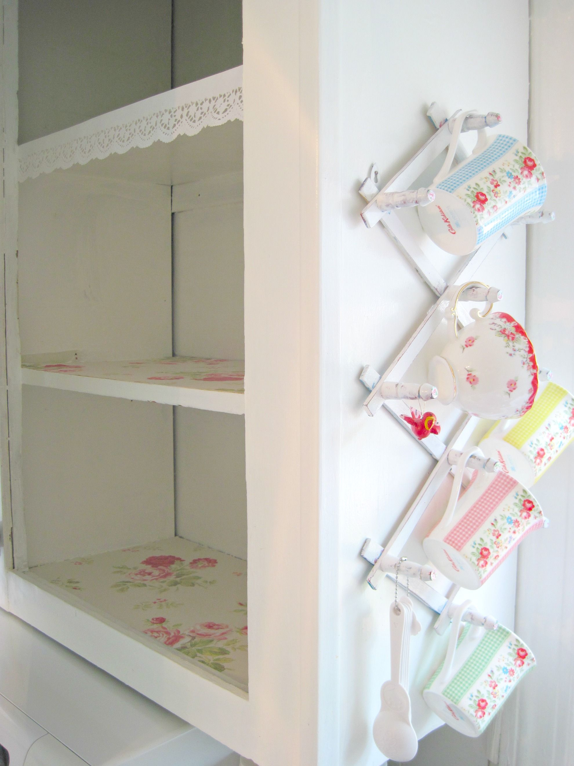 cath kidston wallpaper as shelf liner
