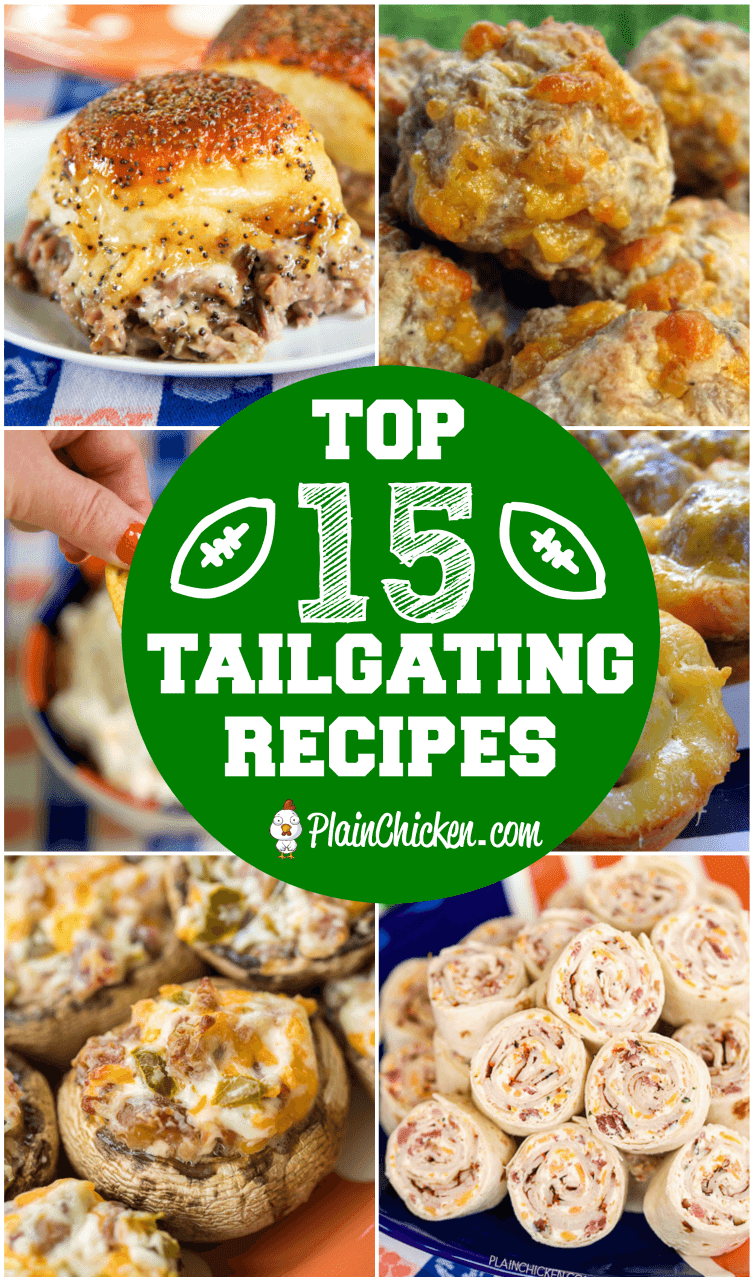 Top 15 Tailgating Recipes - the best recipes to take to your tailgate! Dips, finger foods, appetizers. Your tailgate is guaranteed to score a touchdown if you serve these easy recipes! #tailgating #partyfood #tailgatefood