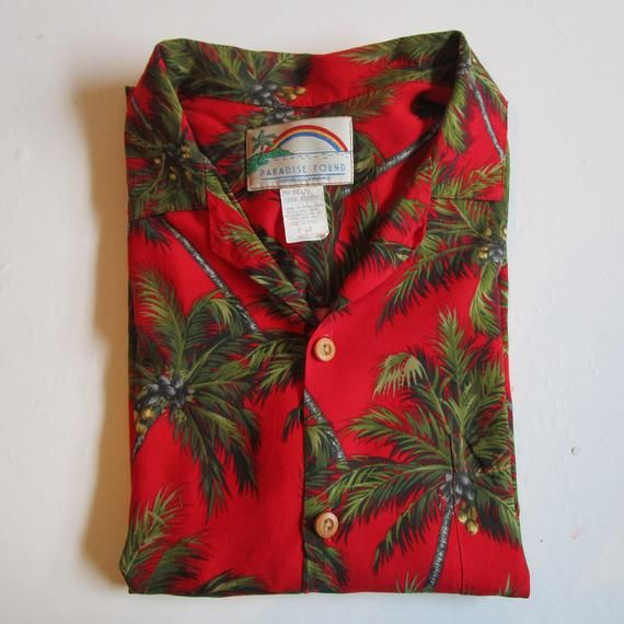 478c7b68 1980s Paradise Found Vintage Shirt Men's Palm Tree Hawaiian Resort Shirt 80s  Red Green Rayon Hawaii