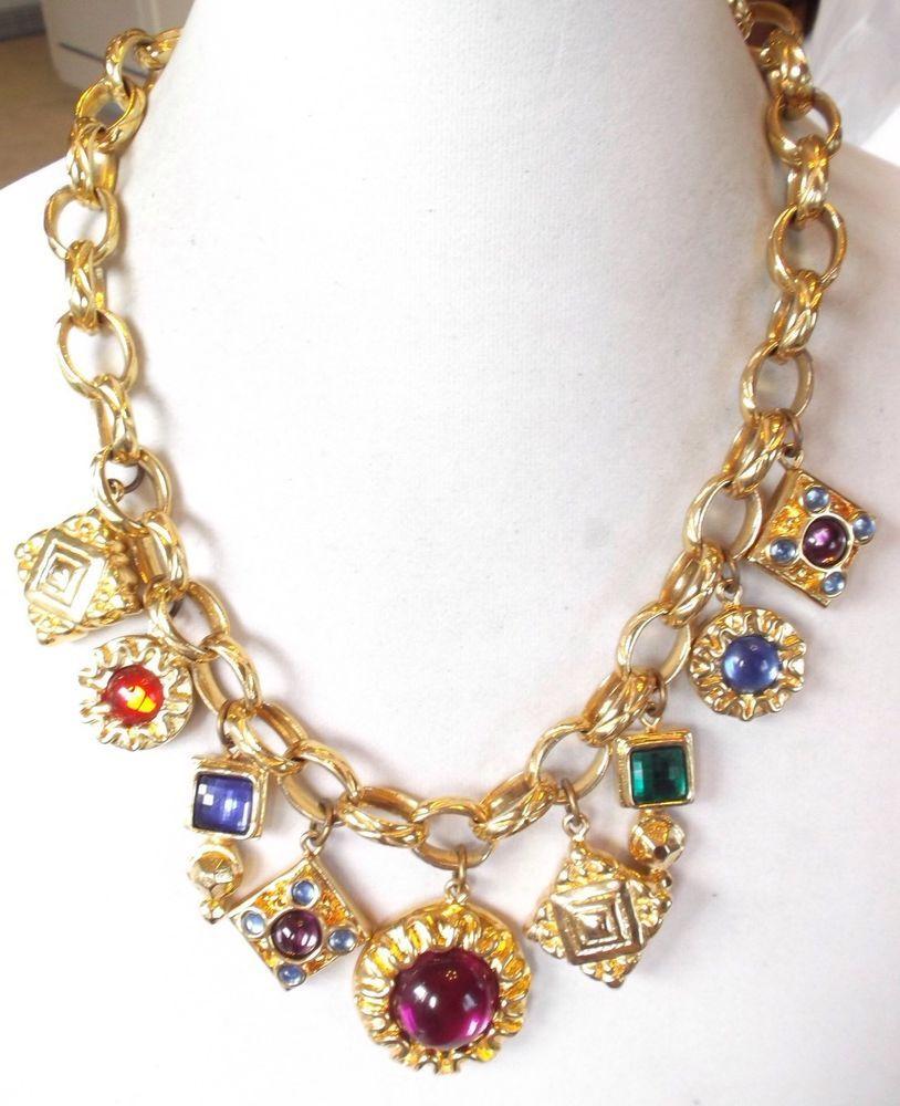 Vintage Escada Gold Plated Charms Chunky Necklace #Escada #Chain