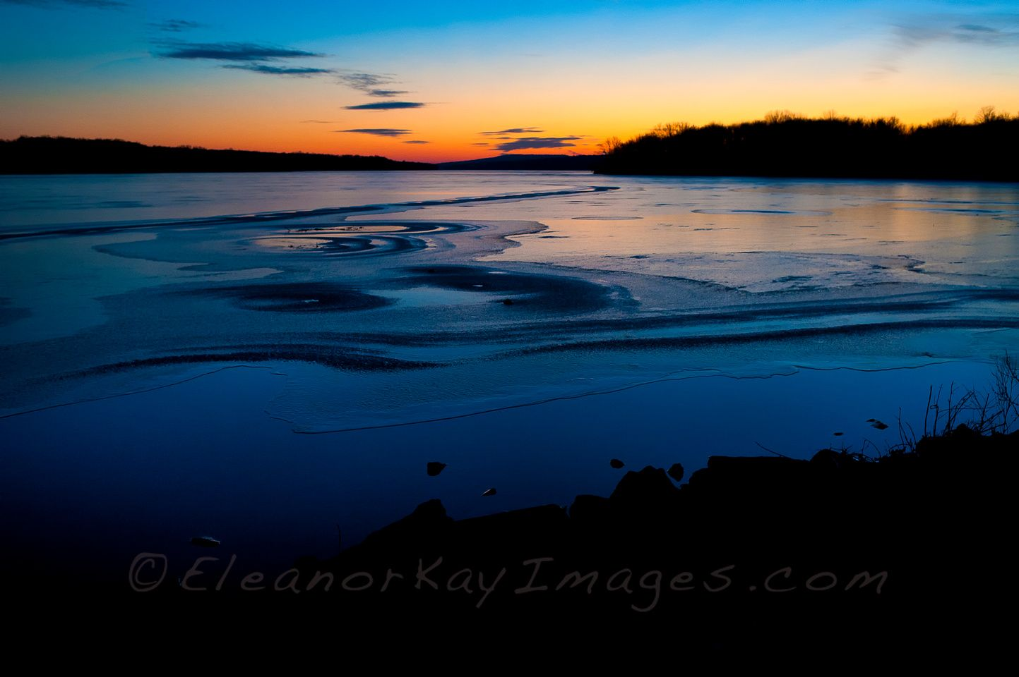 Sunset on Ice at Lake Nockamixon State Park, Pennsylvania