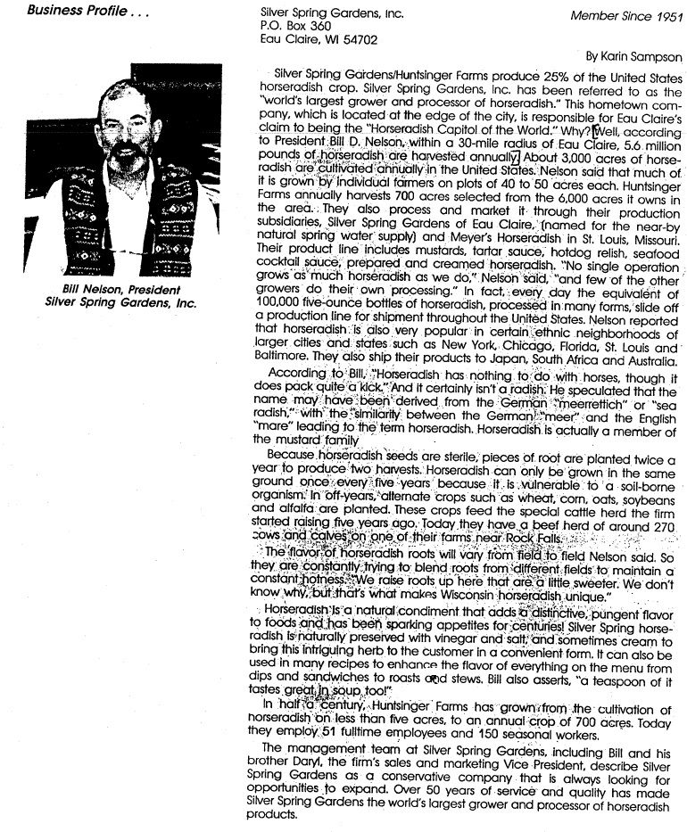 Silver Spring Business Profile from 1989 #Horseradish - company business profile