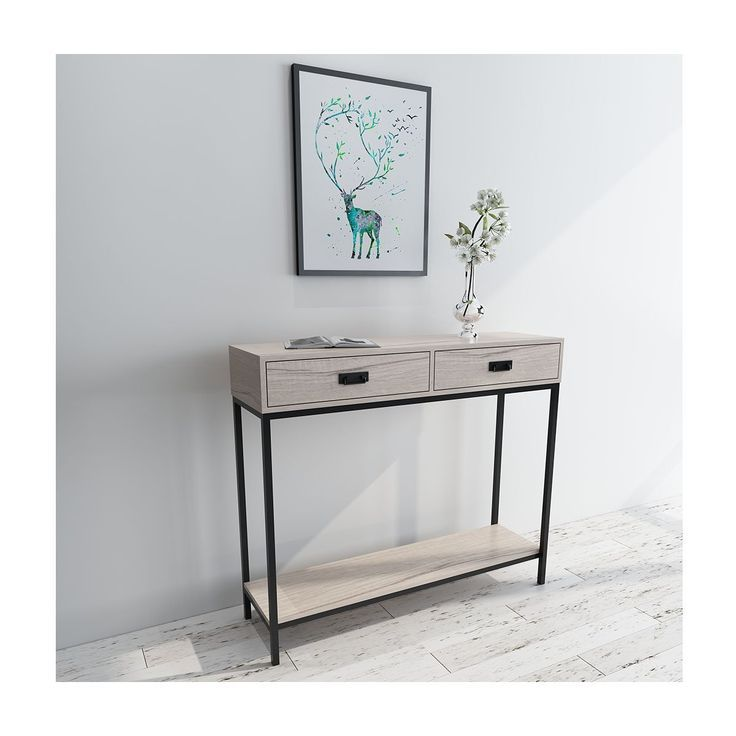 Amazon Com Roomfitters 2 Drawer Console Table Low Display Shelf