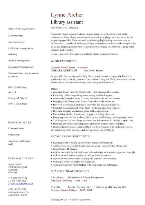 Resume Examples Librarian Pinterest Resume examples, Cv template