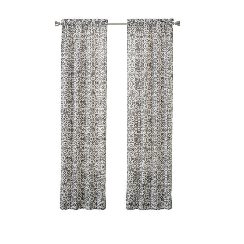 Livio Damask Semi Sheer Rod Pocket Curtain Panels With Images