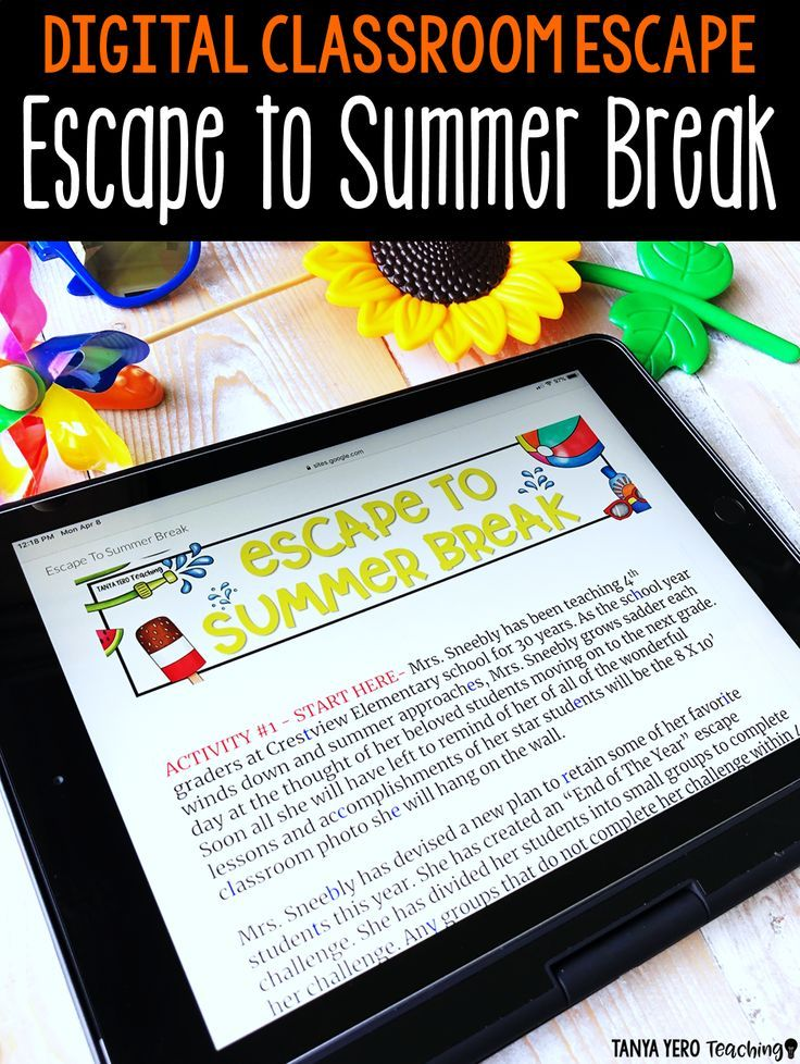 End of the Year Activities Google Classroom Digital Escape