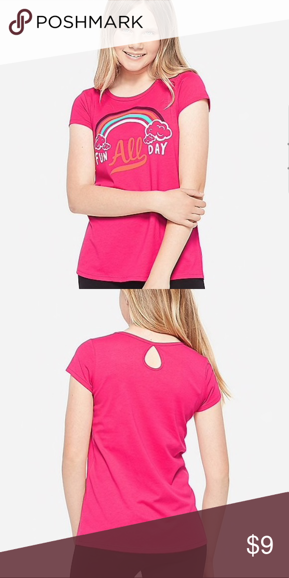 Nwt Justice Fun All Day Keyhole Back Graphic Tee Graphic Tees Fashion Tees