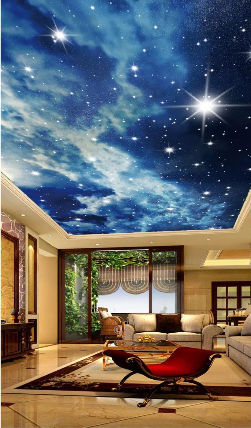 Starry Sky Clouds Stars Ceiling Wallpaper 3d Photo Wall Paper Mural In 2021 Custom Photo Wallpaper Star Ceiling Wallpaper 3d wallpaper designs for ceiling