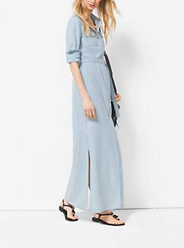 17270446c1 Chambray Maxi Shirtdress by Michael Kors