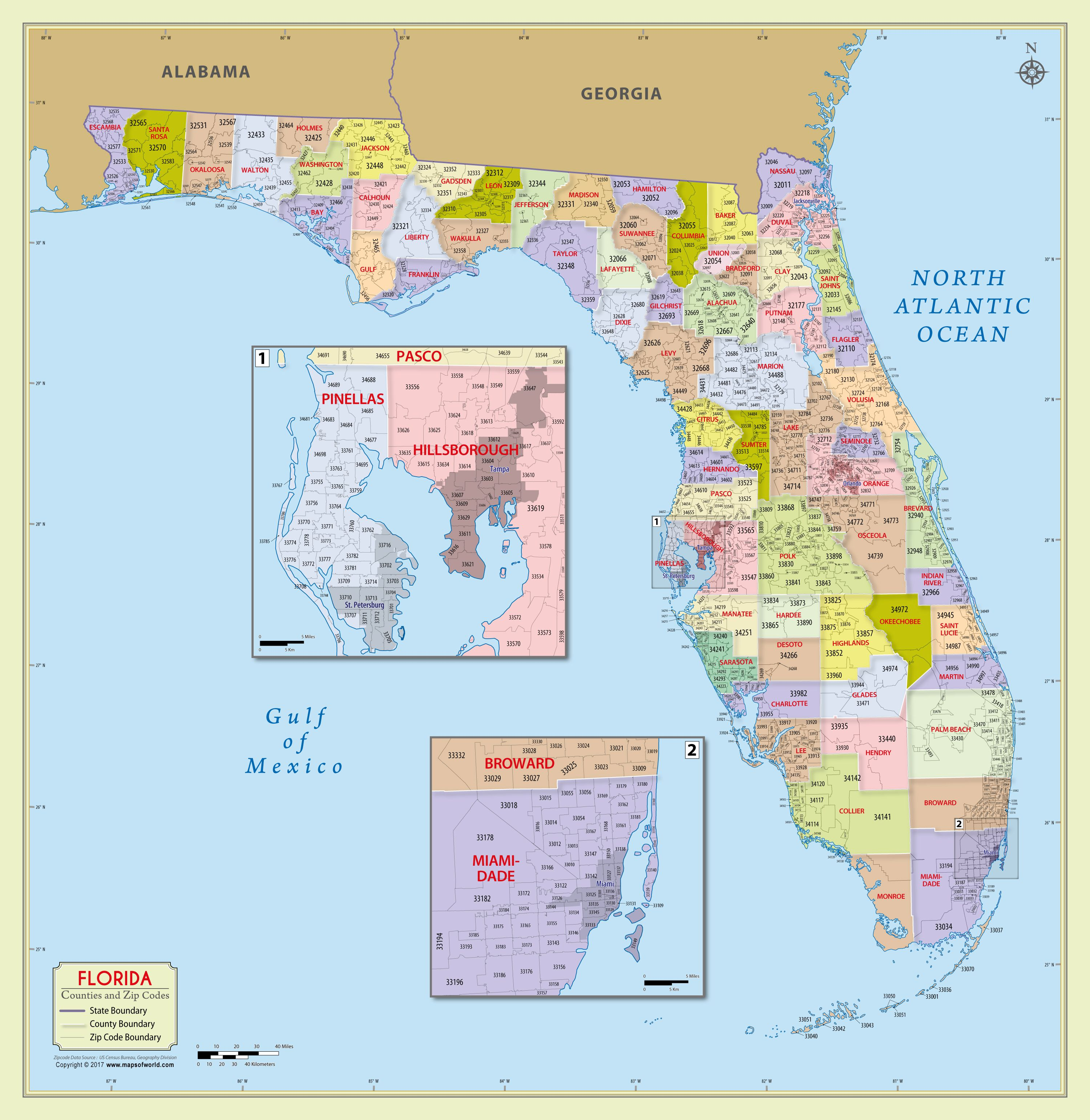 picture about Florida County Map Printable called Florida Zip Code Map With Counties (48 W x 49 H