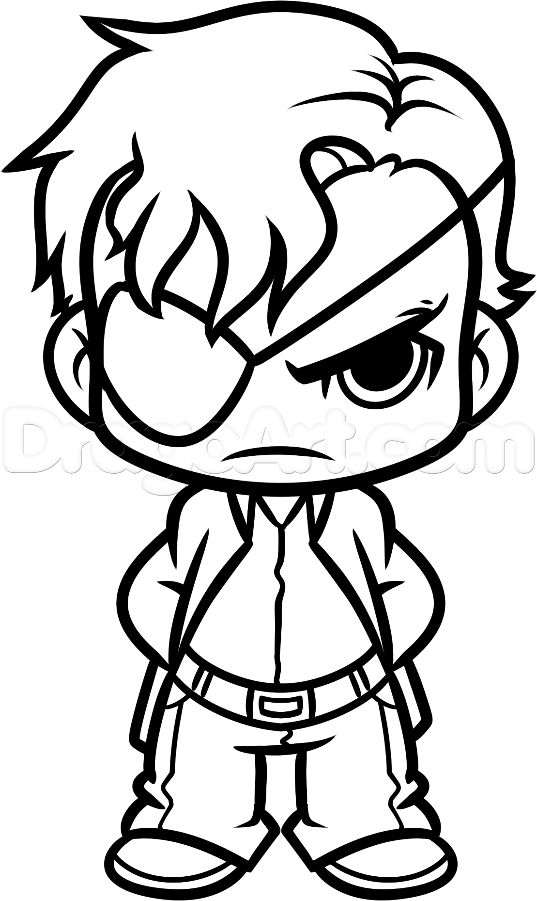 How To Draw Chibi Governor From The Walking Dead Step By