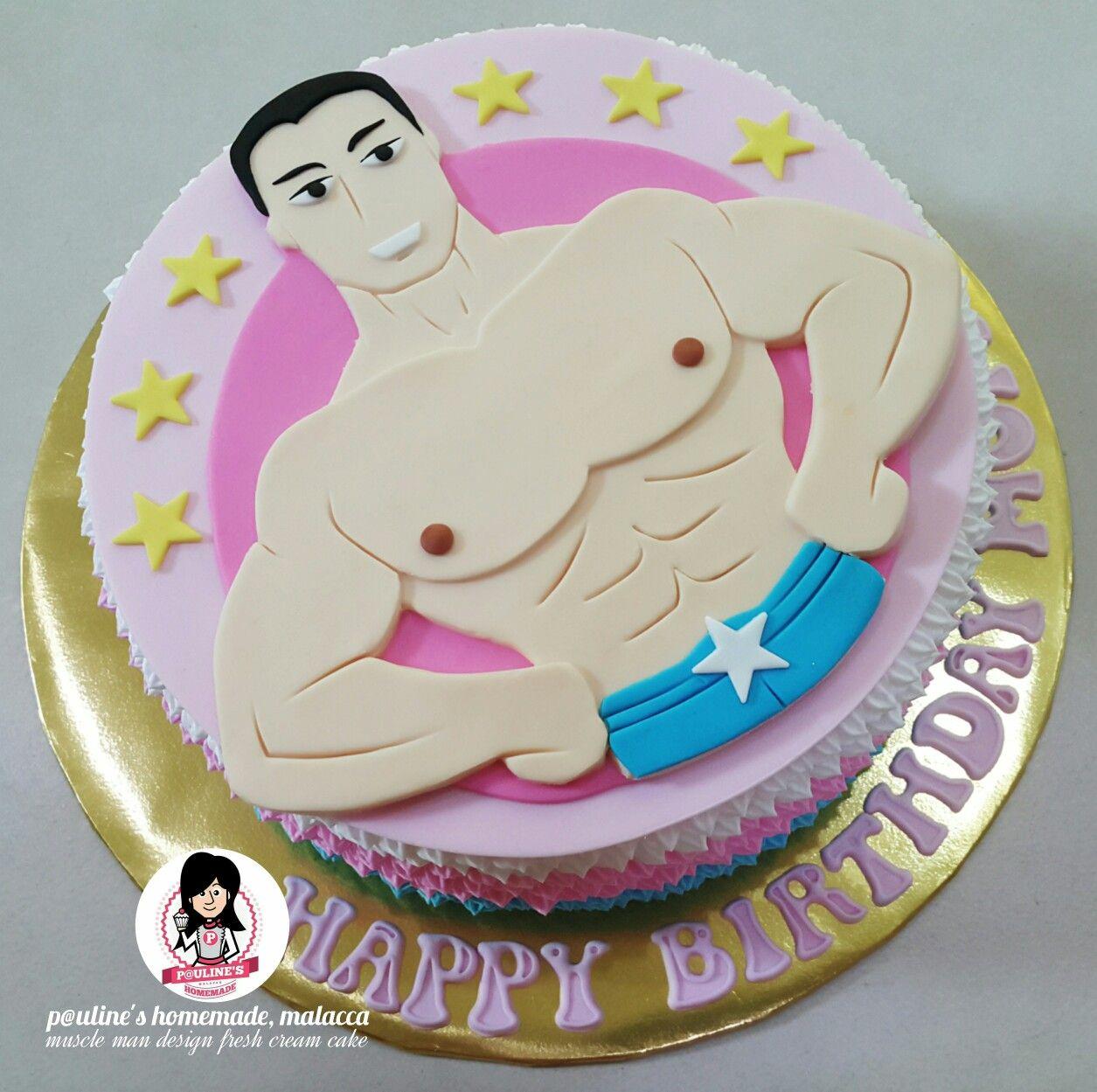 Pleasing Muscle Man Design Fresh Cream Cake Cakes For Men Cake Fresh Cream Personalised Birthday Cards Xaembasilily Jamesorg