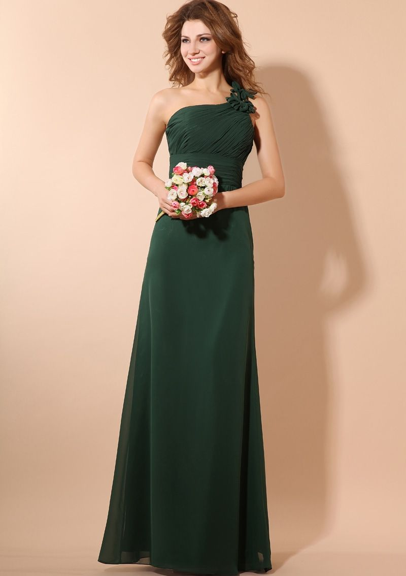 Floor Length Off The Shoulder Dark Green Bridesmaid Dresses