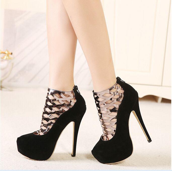 Zapatos de charol negro con plataforma y cordones de tacón alto de 14.5 cm mpavFsEPQe