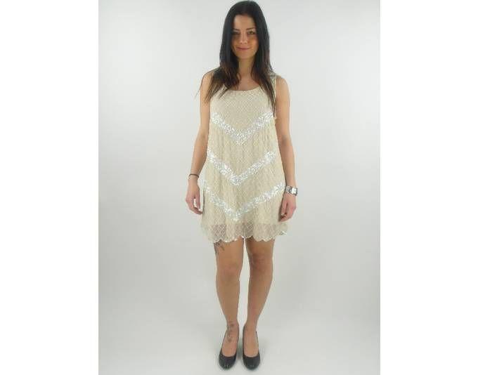 original Yumi Kleid Sommerkleid YN-014 creme zweilagig Pailetten NEU ...