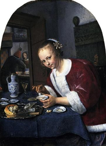 Girl eating oysters - Jan Steen 1658