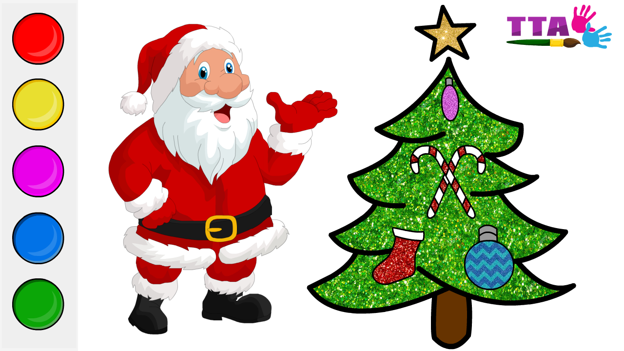 Glitter Christmas Tree Ornaments Coloring And Drawing For Kids Toddlers Top Toy Art Drawing For Kids Art Toy Colors For Toddlers