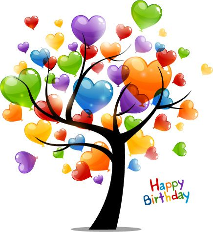 Colored Heart Tree Happy Birthday Card Vector Free Vector In