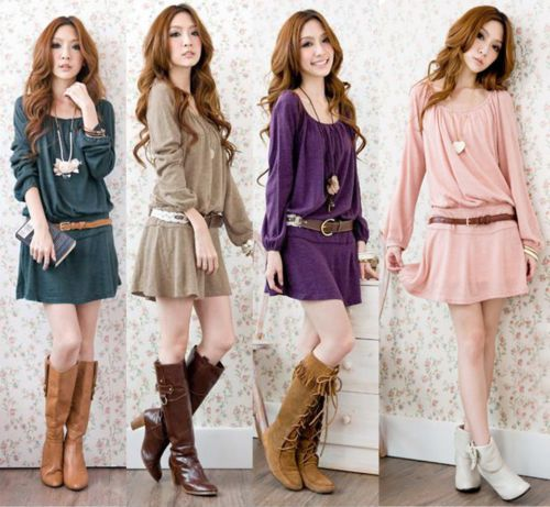 euro 6,40 incl shipping Stylish Women fashion Belted Dress Scoop Neck Tunic Style Long Sleeve Pleated Skirt Top-in Dresses from Apparel & Accessories on Aliexpress....