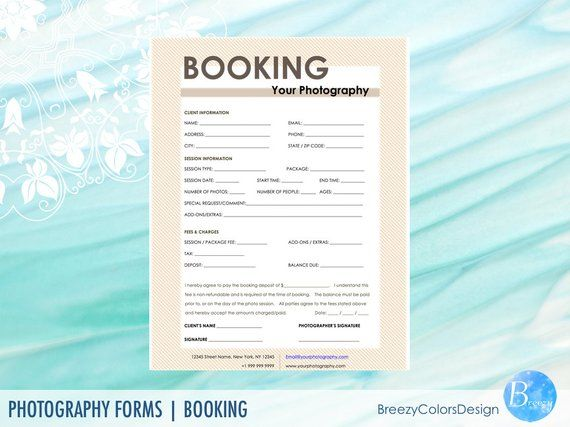 Photographer Booking Forms Templates Wedding Photography