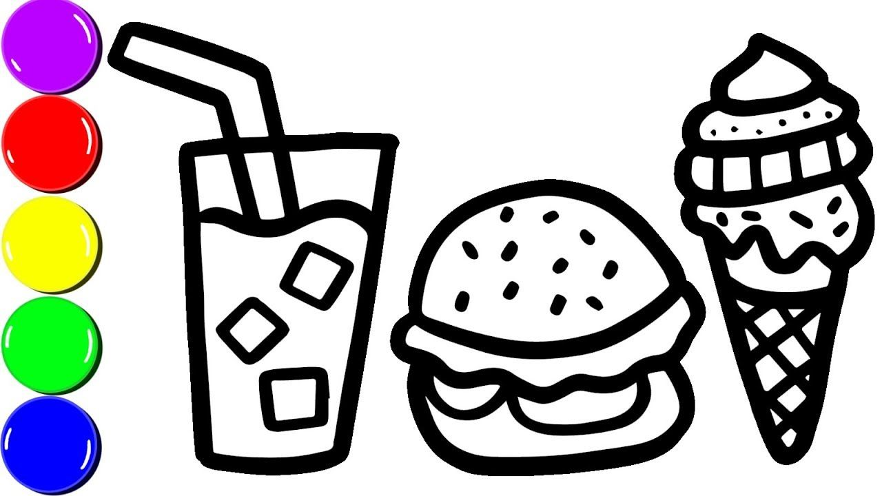 Hamburger Beverage And Ice Cream Coloring Page For Kids Learn Color For Kids